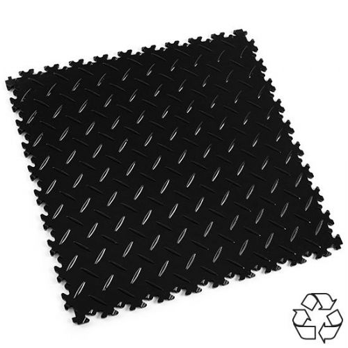 Black Recycled Diamond Plate - Motolock Interlocking Tile